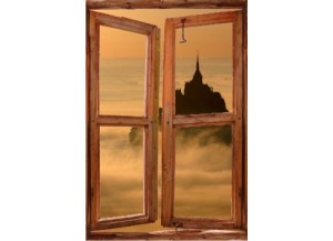 Sticker trompe l'oeil fenêtre cassée Mont Saint Michel matinal