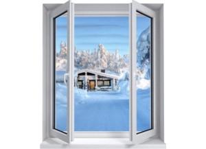 Sticker trompe l'oeil fenêtre 2 vantaux chalet enneigé