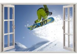 Stickers trompe l'oeil fenêtre ouverte Snowboard