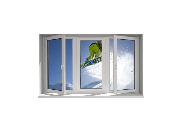 Stickers trompe l'oeil fenêtre Snowboard