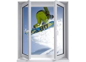 Sticker trompe l'oeil fenêtre 2 vantaux Snowboard