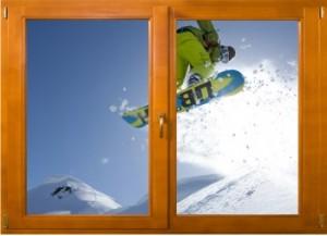 Sticker trompe l'oeil fenêtre bois Snowboard