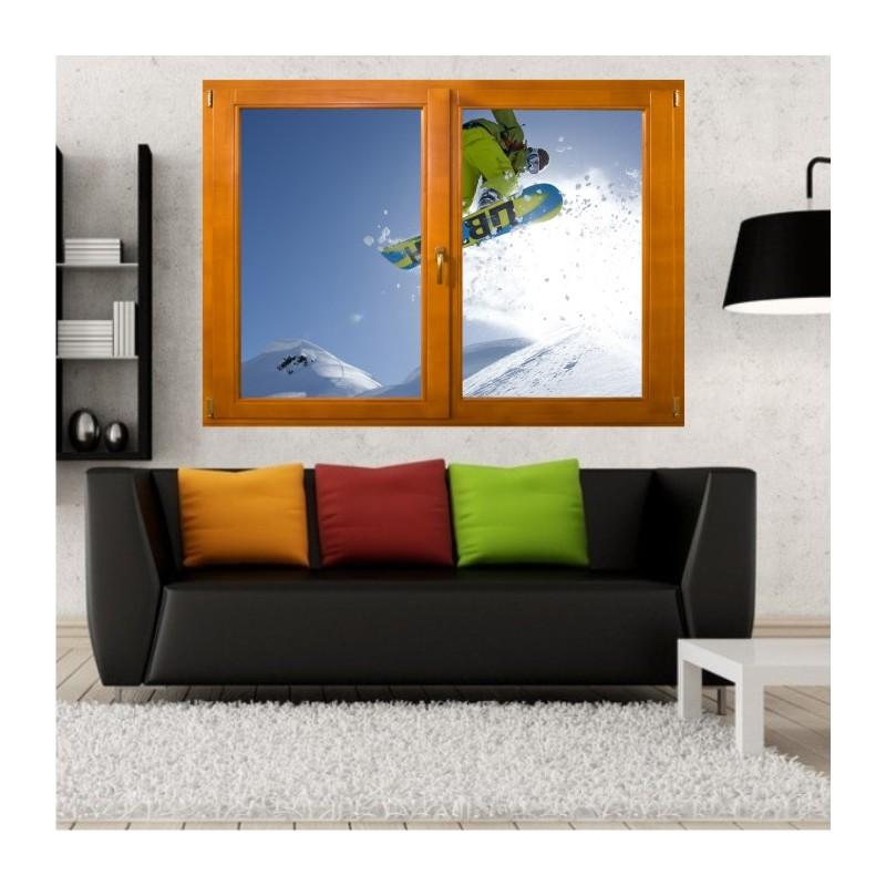 stickers trompe l 39 oeil fen tre bois snowboard. Black Bedroom Furniture Sets. Home Design Ideas
