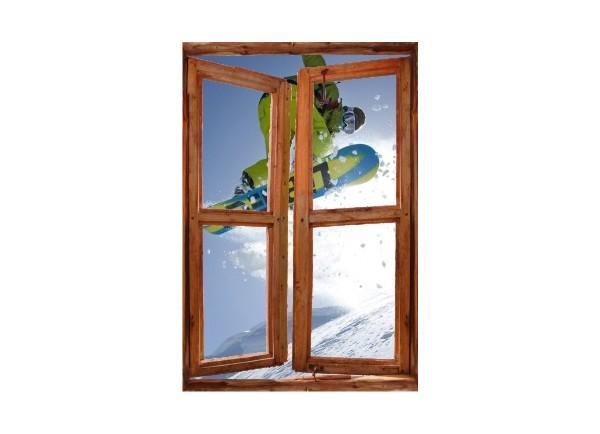 Sticker trompe l'oeil fenêtre cassée Snowboard