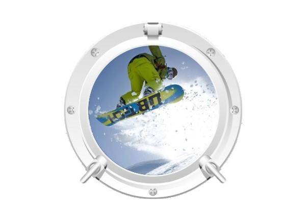 Stickers trompe l'oeil hublot blanc Snowboard