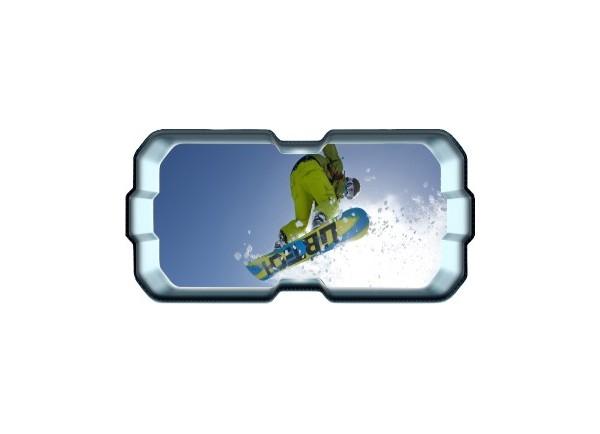 Stickers trompe l'oeil hublot 3D Snowboard