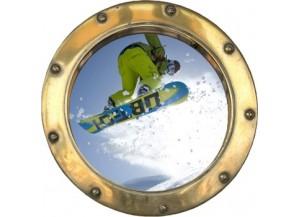 Stickers trompe l'oeil hublot doré Snowboard