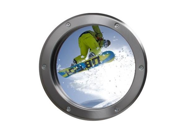 Stickers trompe l'oeil hublot argent Snowboard