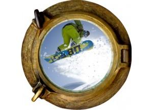 Stickers trompe l'oeil hublot bronze Snowboard