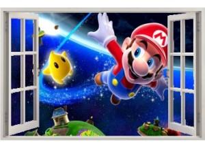 Stickers trompe l'oeil fenêtre ouverte Mario galaxy