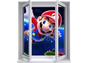 Sticker trompe l'oeil fenêtre 2 vantaux Mario galaxy