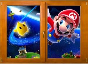 Sticker trompe l'oeil fenêtre bois Mario galaxy
