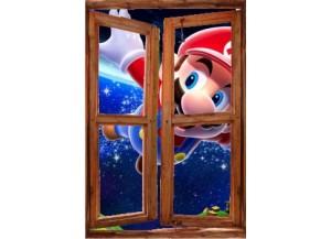 Sticker trompe l'oeil fenêtre cassée Mario galaxy