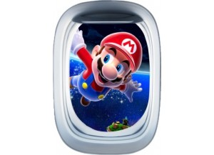 Stickers trompe l'oeil hublot avion Mario galaxy