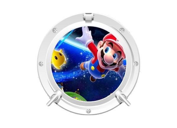 Stickers trompe l'oeil hublot blanc Mario galaxy