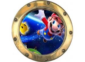 Stickers trompe l'oeil hublot doré Mario galaxy