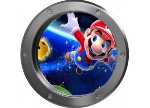 Stickers trompe l'oeil hublot argent Mario galaxy