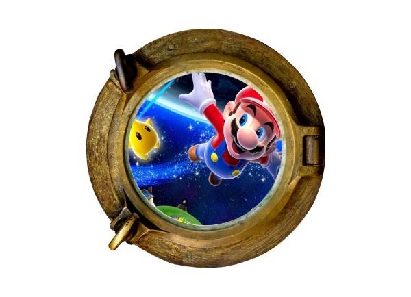 Stickers trompe l'oeil hublot bronze Mario galaxy