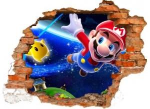Sticker trompe l'oeil 3D mur déchiré Mario galaxy