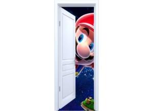 Stickers trompe l'oeil porte blanche ouverte Mario galaxy
