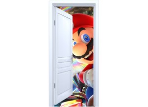 Stickers trompe l'oeil porte blanche ouverte Mario Kart
