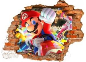 Sticker trompe l'oeil 3D mur déchiré Mario Kart