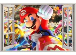 Stickers trompe l'oeil fenêtre ouverte Mario Kart