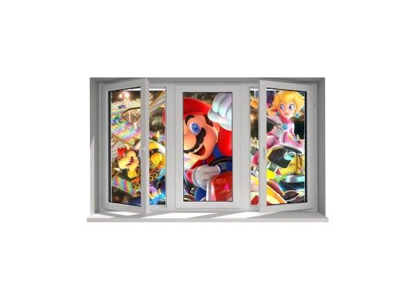 Stickers trompe l'oeil fenêtre Mario Kart
