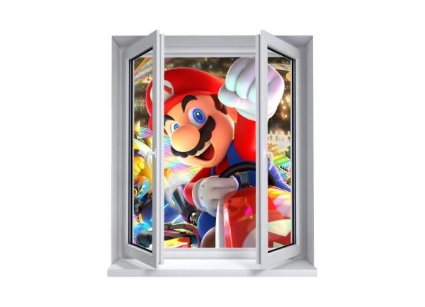Sticker trompe l'oeil fenêtre 2 vantaux Mario Kart