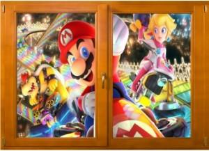 Sticker trompe l'oeil fenêtre bois Mario Kart