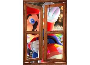 Sticker trompe l'oeil fenêtre cassée Mario Kart