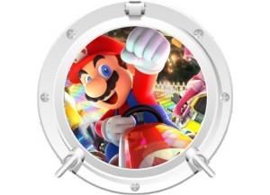 Stickers trompe l'oeil hublot blanc Mario Kart