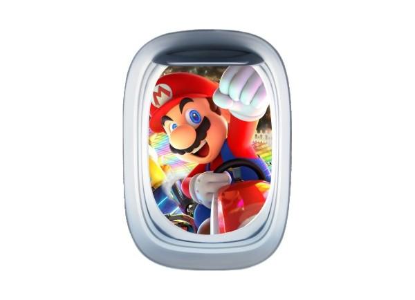 Stickers trompe l'oeil hublot avion Mario Kart