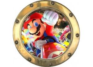 Stickers trompe l'oeil hublot doré Mario Kart