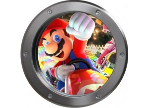 Stickers trompe l'oeil hublot argent Mario Kart