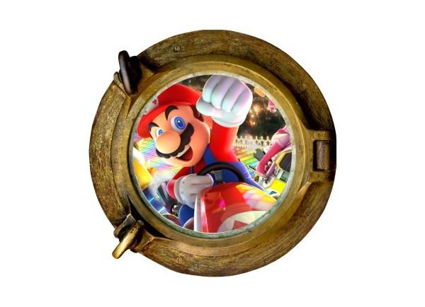 Stickers trompe l'oeil hublot bronze Mario Kart