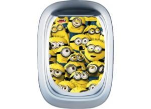 Stickers trompe l'oeil hublot avion Les Minions