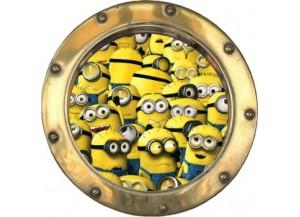 Stickers trompe l'oeil hublot doré Les Minions