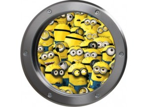 Stickers trompe l'oeil hublot argent Les Minions