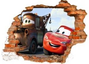 Sticker trompe l'oeil 3D mur déchiré Cars