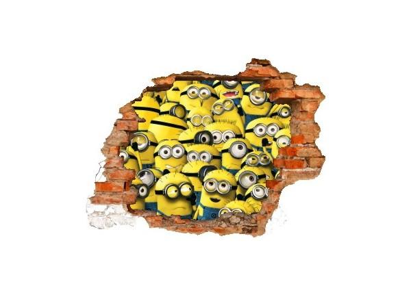 Sticker trompe l'oeil 3D mur déchiré Les Minions