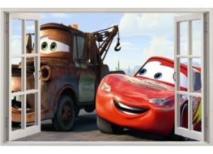 Stickers trompe l'oeil fenêtre ouverte Cars