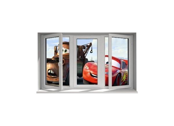 Stickers trompe l'oeil fenêtre Cars