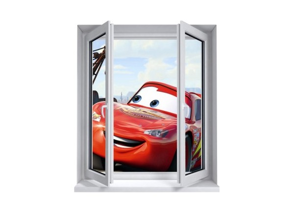 Sticker trompe l'oeil fenêtre 2 vantaux Cars