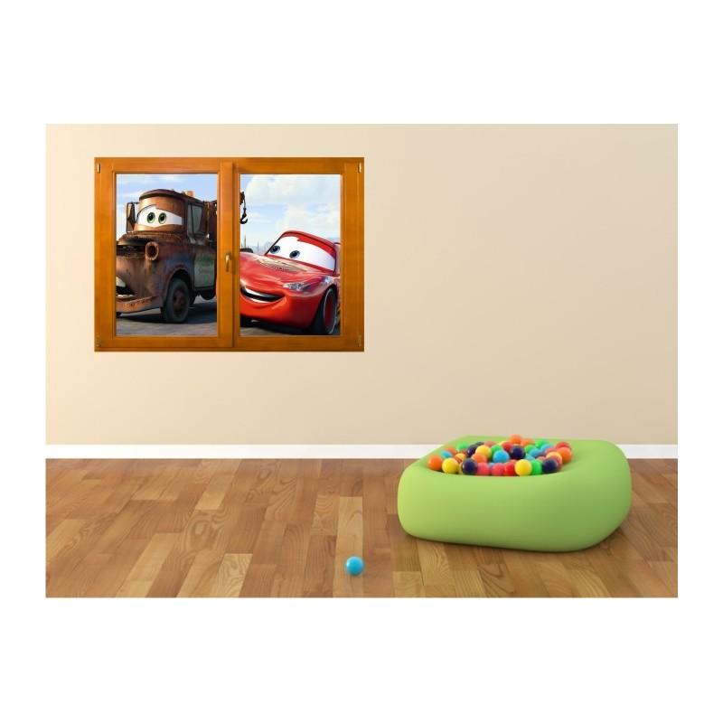 stickers trompe l 39 oeil fen tre bois cars. Black Bedroom Furniture Sets. Home Design Ideas