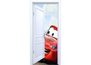 Stickers trompe l'oeil porte blanche ouverte Cars