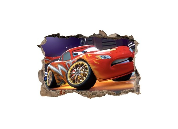 Sticker trompe l'oeil 3D mur d'agglo cassé Cars Flash Mac Queen