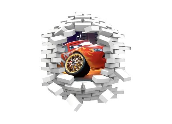 Sticker trompe l'oeil 3D mur blanc cassé Cars Flash Mac Queen
