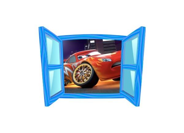 Sticker trompe l'oeil fenêtre bleue Cars Flash Mac Queen