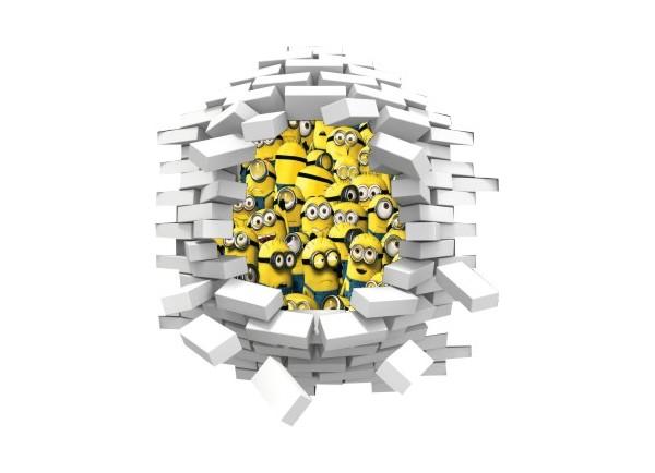 Sticker trompe l'oeil 3D mur blanc cassé Les Minions
